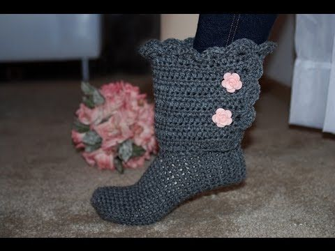 How To Crochet Glama\'s Fancy Bootie Slippers - YouTube | sharon ...