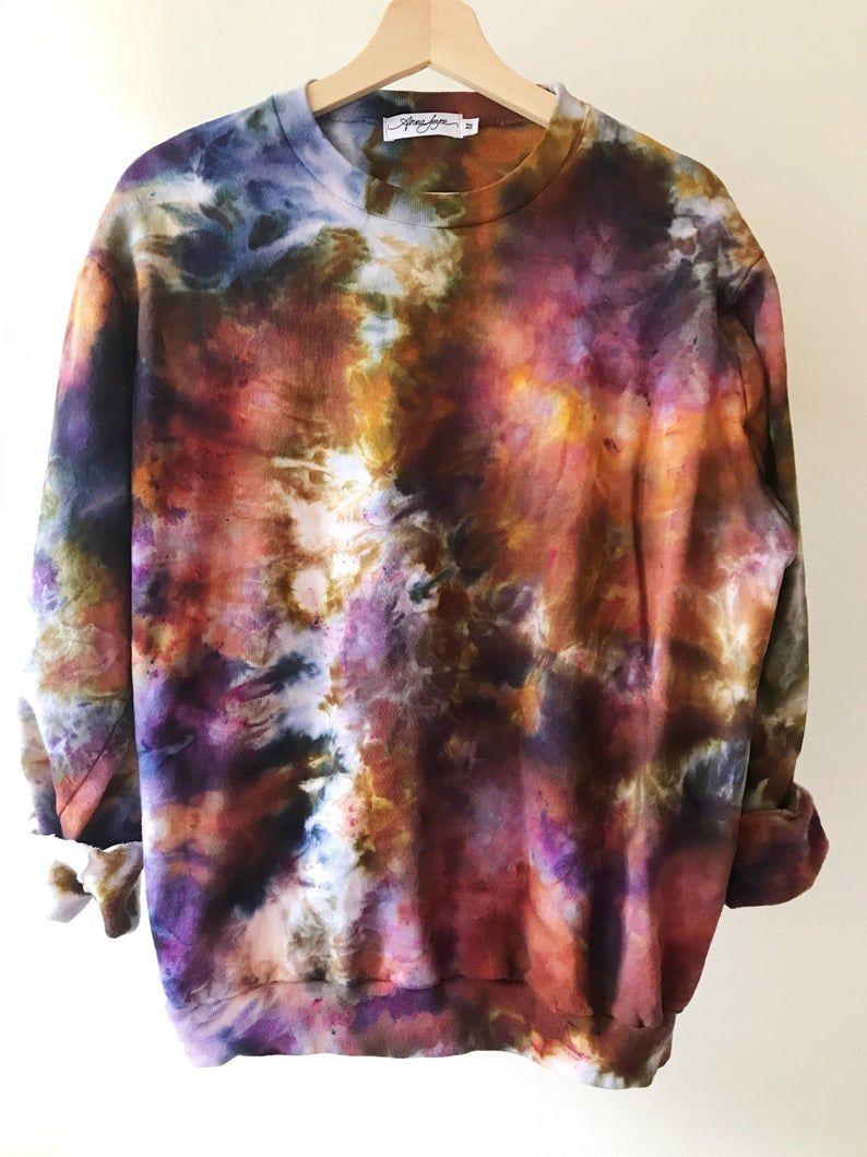 Handgefärbt Baumwolle Rundhals Sweatshirt in Tiger auge Anna image 0