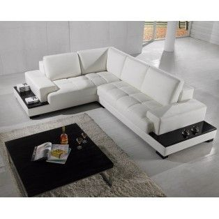 Modern Bonded Leather Sectional Super Cool Sofa With Built In End Tables And Shelving The Back