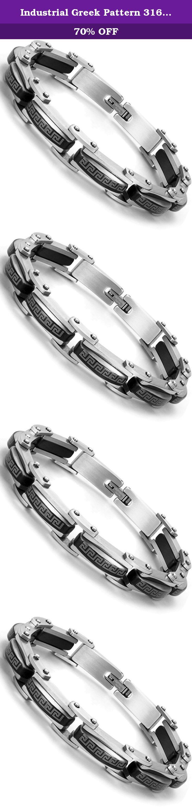 Industrial greek pattern l stainless steel link cuff bracelet for