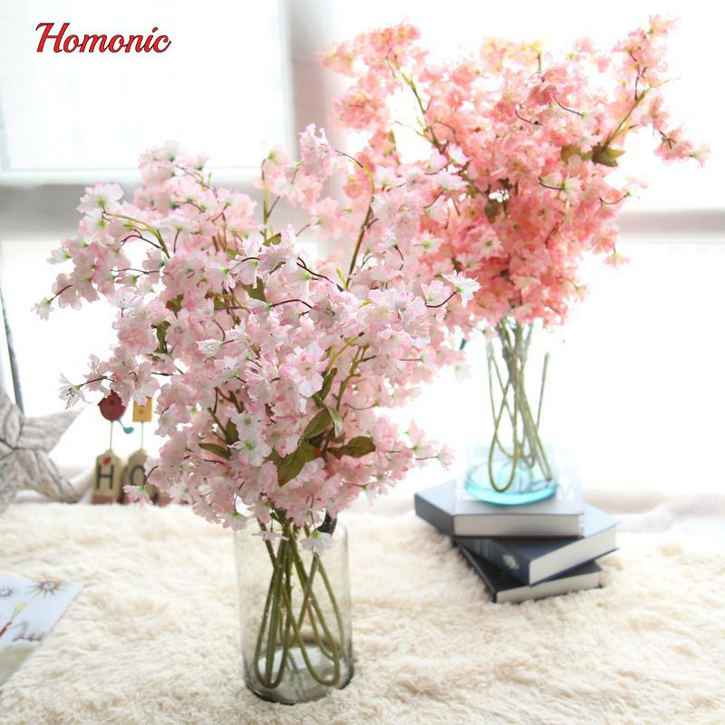 100 Cm Silk Cherry Blossom For Wedding Decoration Diy Tokyo Sakura Cherry Blossom Trees Artificial Artificial Flowers Fake Flowers Artificial Flower Bouquet