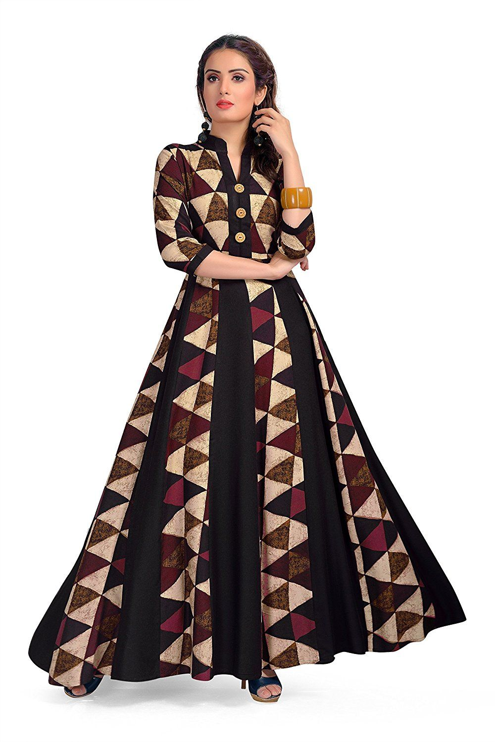14f1a7e8467 ... Maxi Gown style Kurta - Party wear long rayon beautiful womens wear  kurti - Latest bollywood readymade western dress collection  Amazon.in   Clothing   ...
