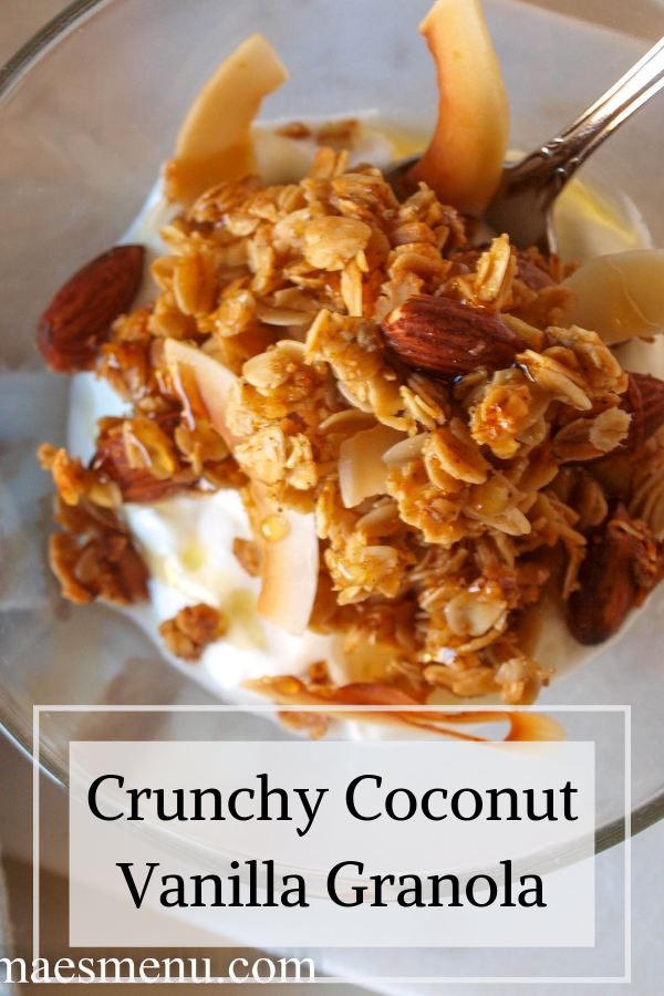 Crunchy Coconut Vanilla Granola This Vanilla Spiced Coconut Granola is crunchy, healthy, and easy to make. It's perfect on yogurt, smoothie bowls, or even on it's own as a snack or with milk poured over it.