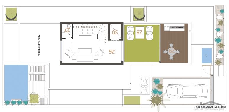فيلا سكني التصميم النموذجي B مصعد لمكتب المعمار البسيط للمهندس عبدالرحمن الزعاقير مساحة الأرض 300 متر مربع Arab Arch Floor Plans