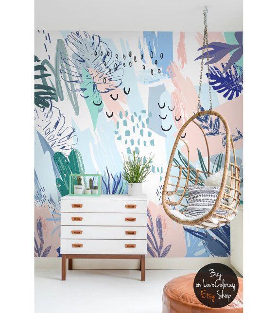 Pastel art nursery wallpaper, Removable wallpaper,