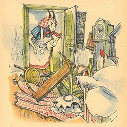 der wolf und die sieben jungen geißlein, illustration von erich gürtzig 1955 | grimm-bilder wiki