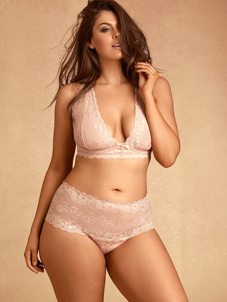23d446effc3142 Hips And Curves Zoey Lace Thong - Light Coral Large