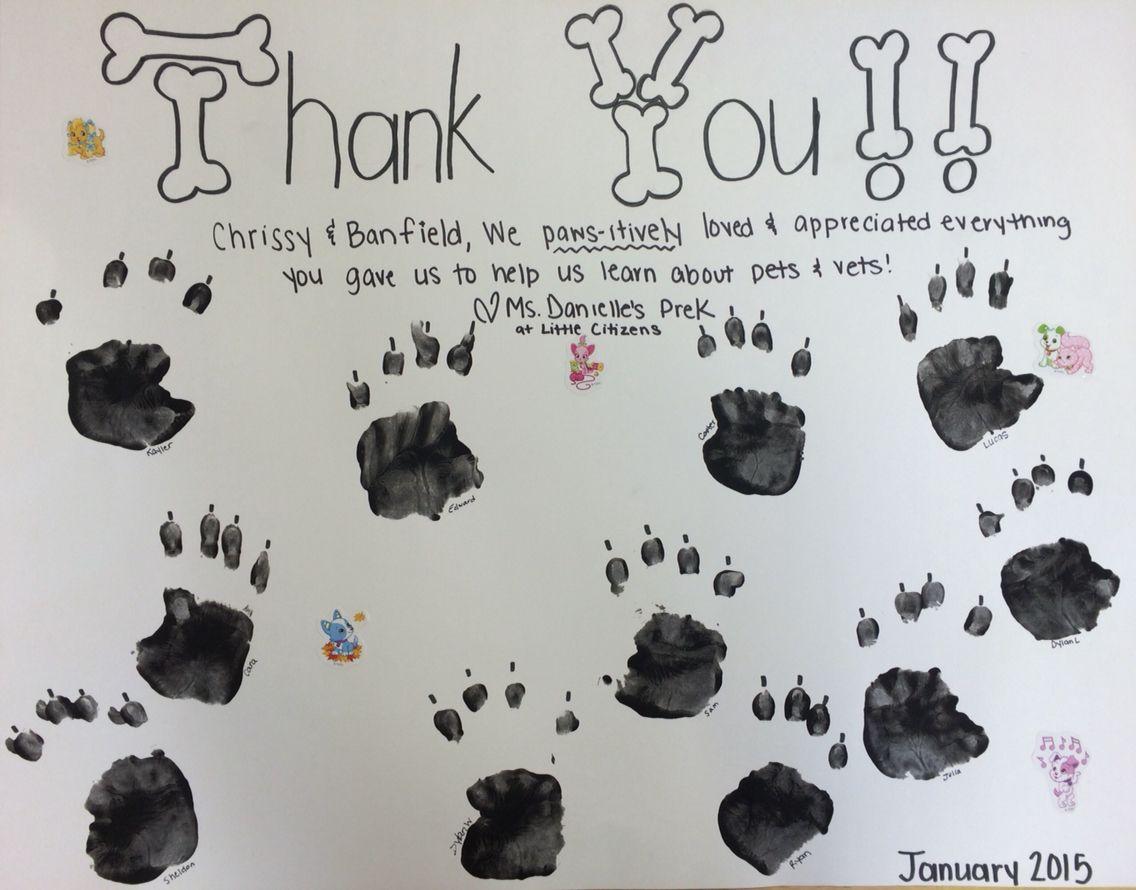 Thank You Card To Banfield Pet Hospital After Our Prek Pet Vet Unit Pet Vet Animal Hospital Thank You Cards