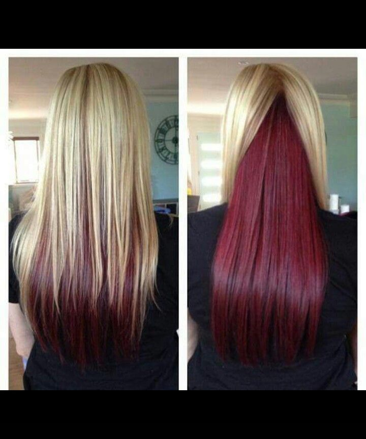2 Tone Hairstyle Blonde Red Hair Styles Cool Hairstyles Long Straight Hair
