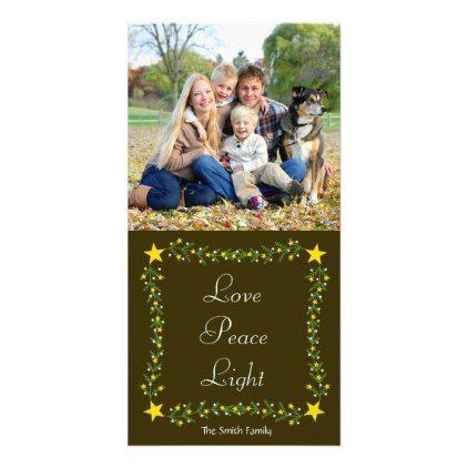 Love Peace Light Stars and Greenery Christmas Card - christmas cards
