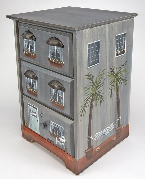 Gray Townhouse/ Beach House/ End Table/ Nightstand/ Hand Painted Furniture/  Beach
