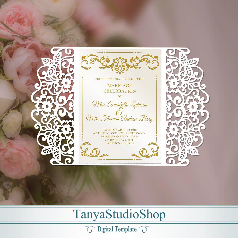 Gate-fold 5x7'' invitation template SVG ai CRD | Etsy | Invitations, Invitation  template, Wedding cards