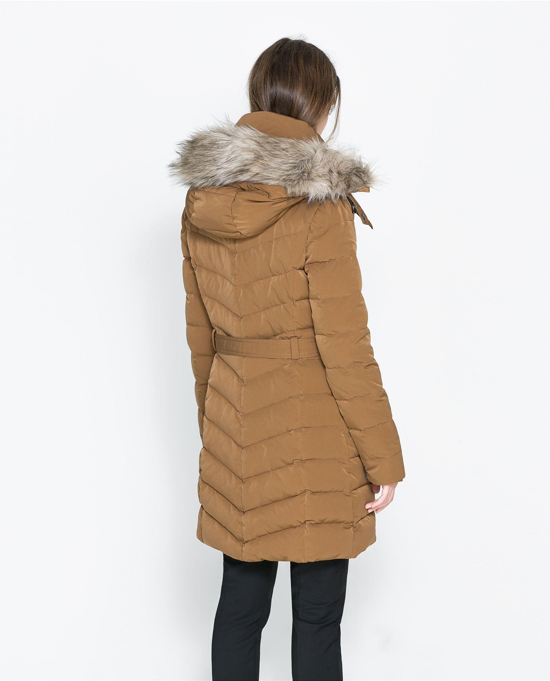 031c0655cc4e Zara Medium Length Puffer Jacket with Hood in Beige (Caramel)