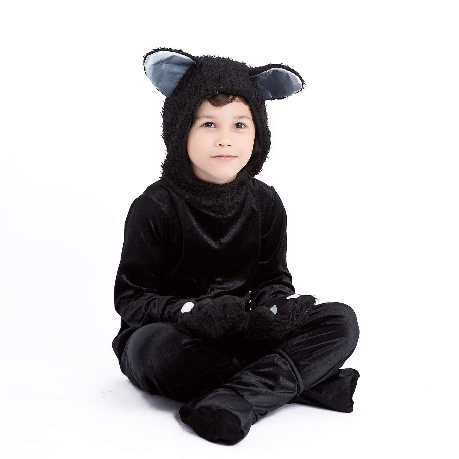 Kids Black Cat Jumpsuit Halloween Cosplay Costumes For Little Boys