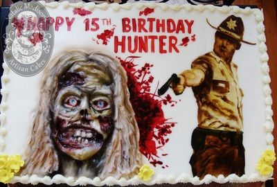 """Portfolio of Cakes - Natalie Madison's Artisan Cakes  Hand painted Rick Grimes from """"The Walking Dead"""" behind a 3D relief sculpted zombie. 1/2 sheet - serving 48: $136 plus tax.  Eeew factor: $priceless!"""