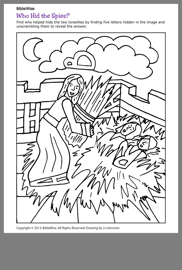 Rahab Hides The Spies Coloring Page Bible Story Crafts Bible