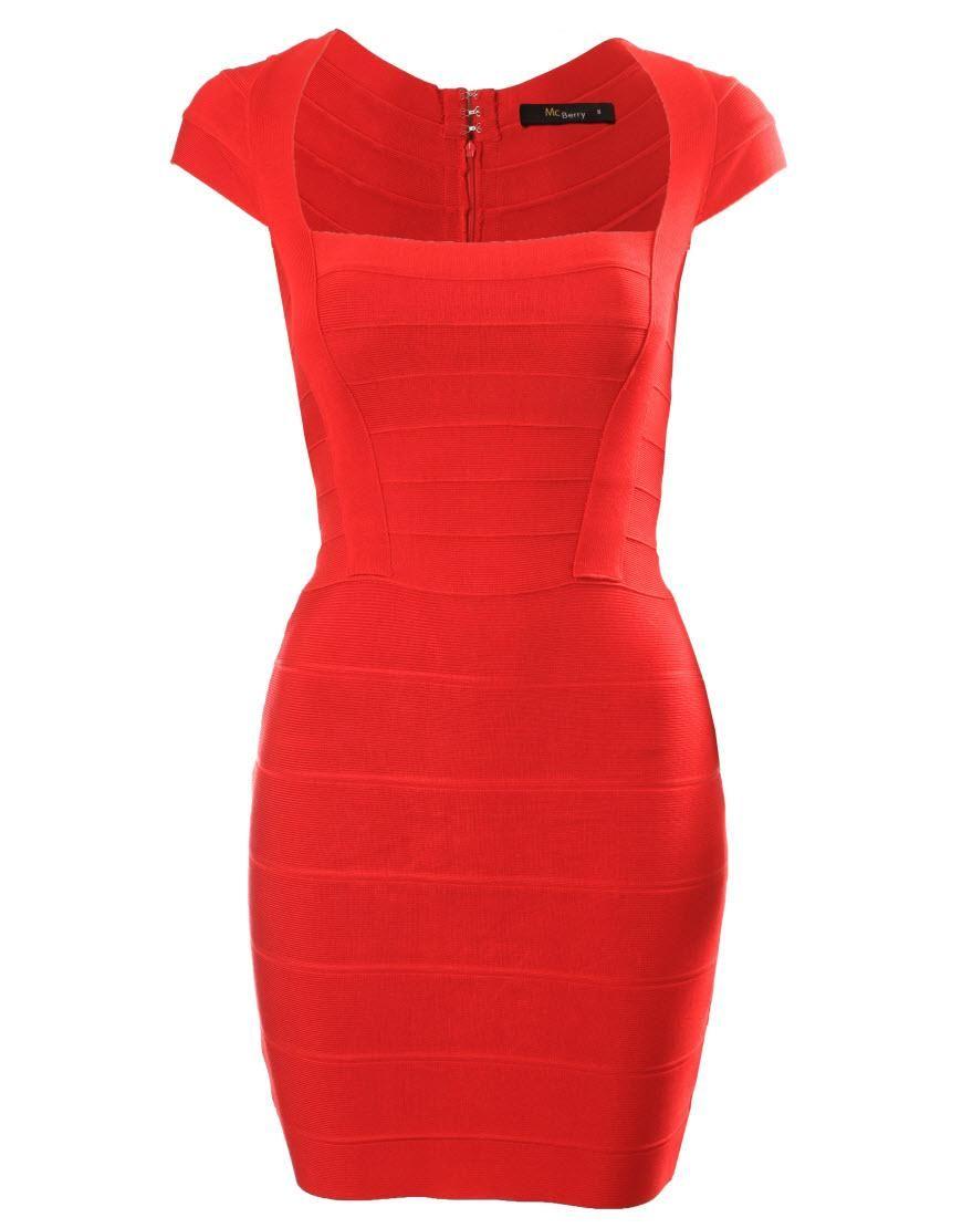 Red cap sleeve bandage dress