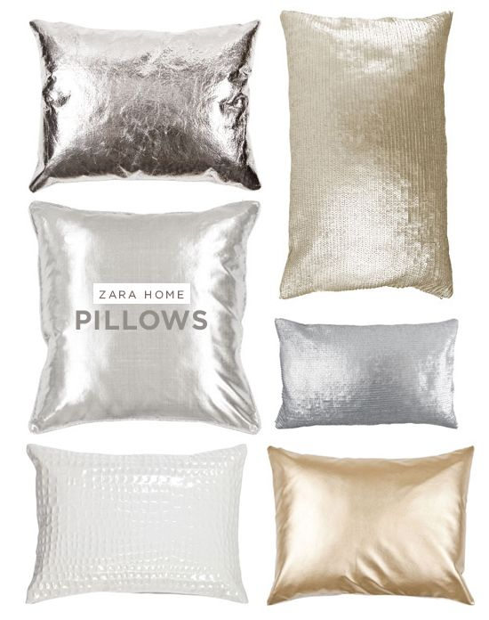 metallic pillows zara home for the new home. Black Bedroom Furniture Sets. Home Design Ideas