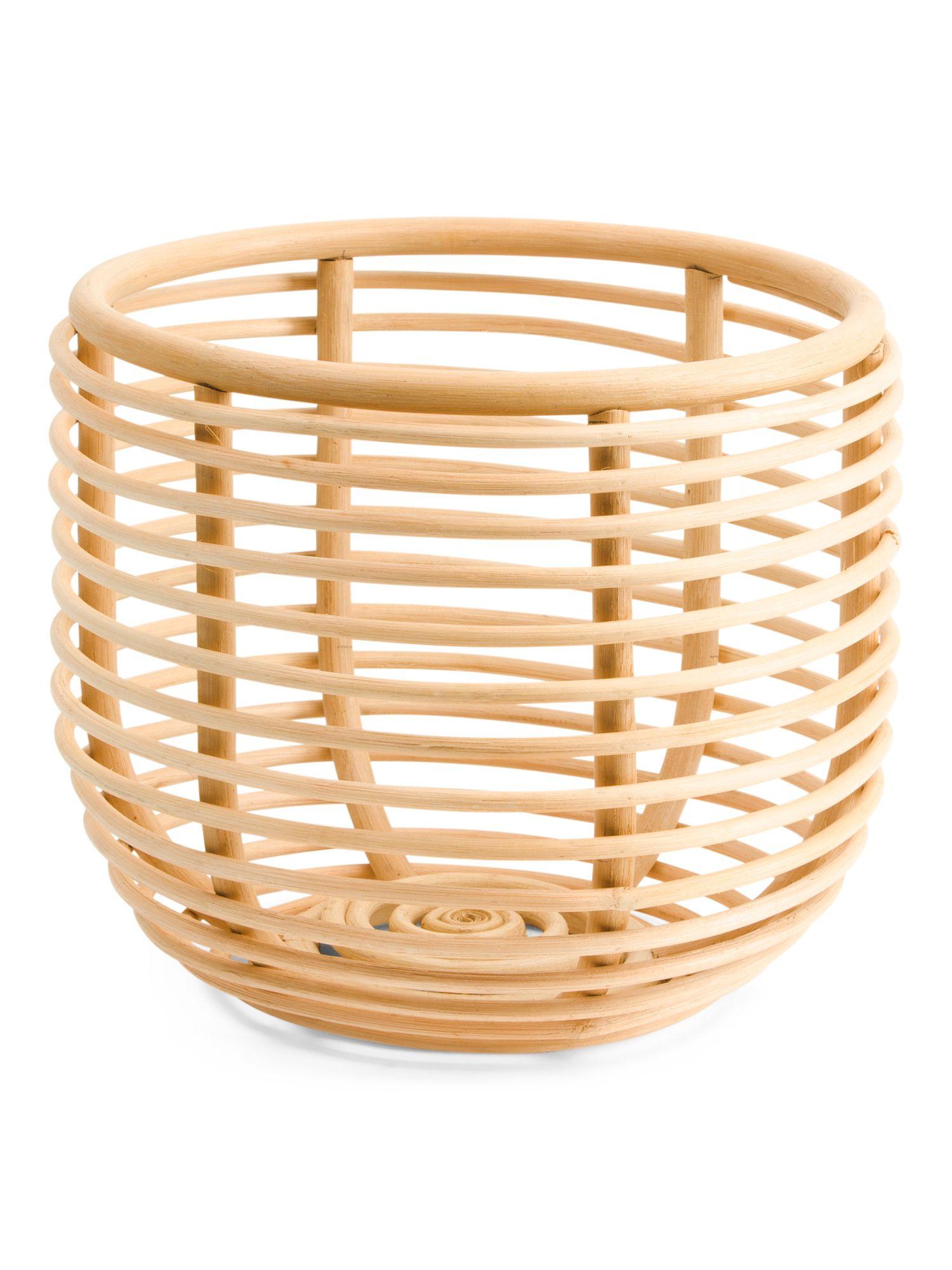 Made In India Round Rattan Basket Storage T.J.Maxx