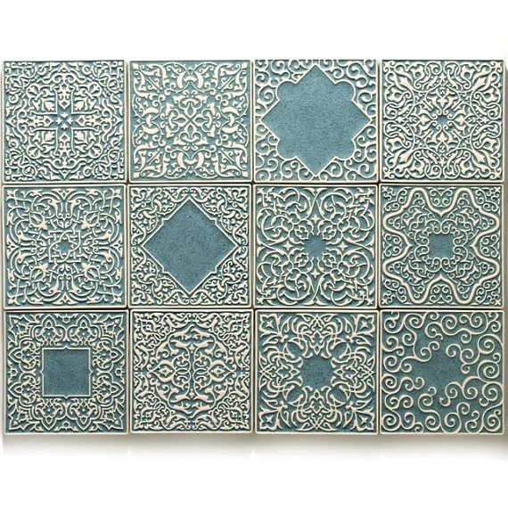 Inspirierend Wandfarbe Seidenglanzend Haus Interieur Ideen: Tiles With Ornaments, Gray-turquoise, 12 Piece In 2019