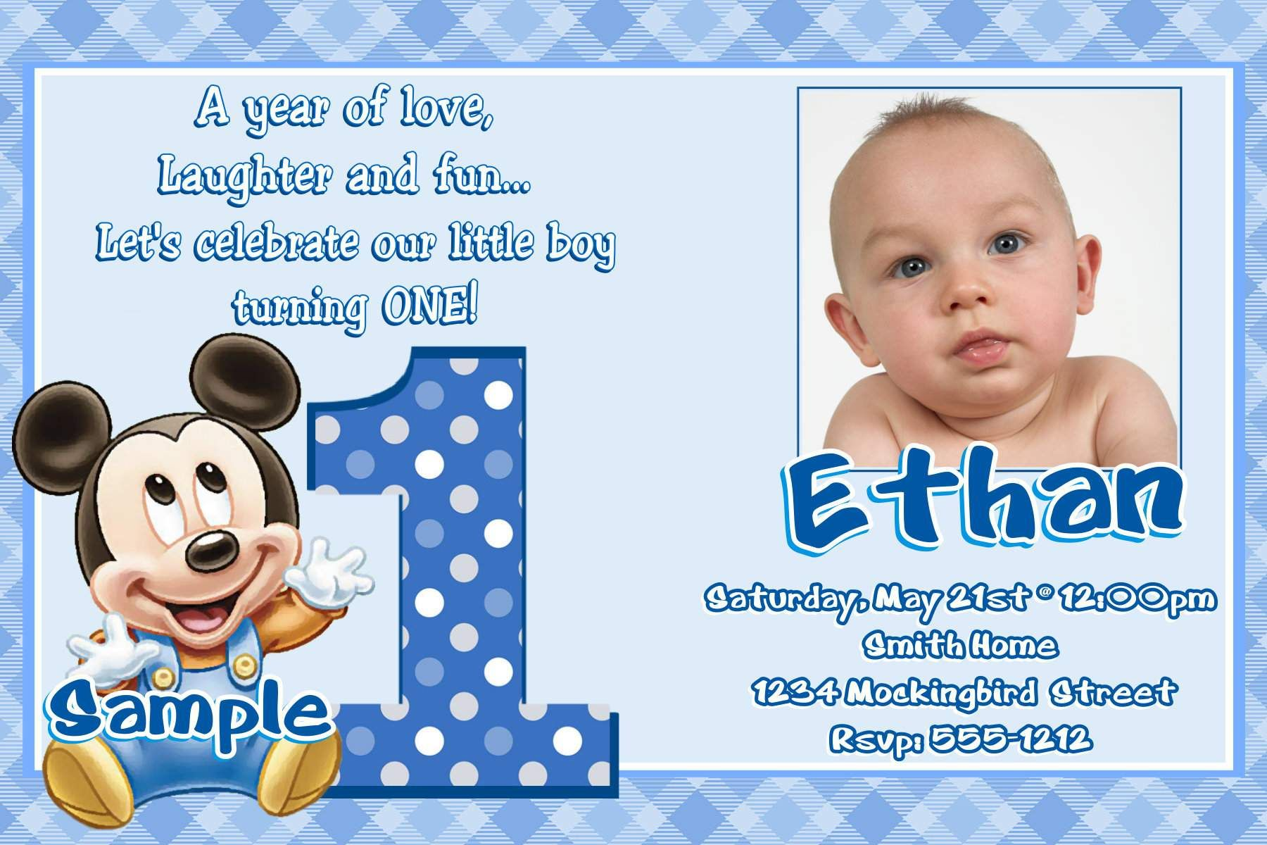 Image For Mickey Mouse Clubhouse 1st Birthday Invitations Ankita