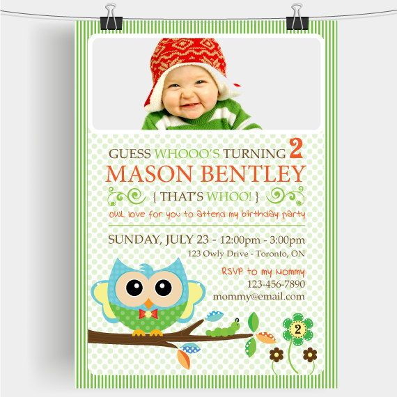 Custom 2nd Birthday Boy Printable Invitation Bella Owl Look Whos Turning 2 Photo Edition Now Available