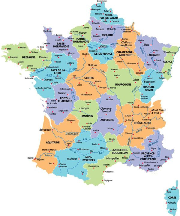 La Carte De France Avec Ses Regions Carte De France Ville Carte De France Les Regions De France