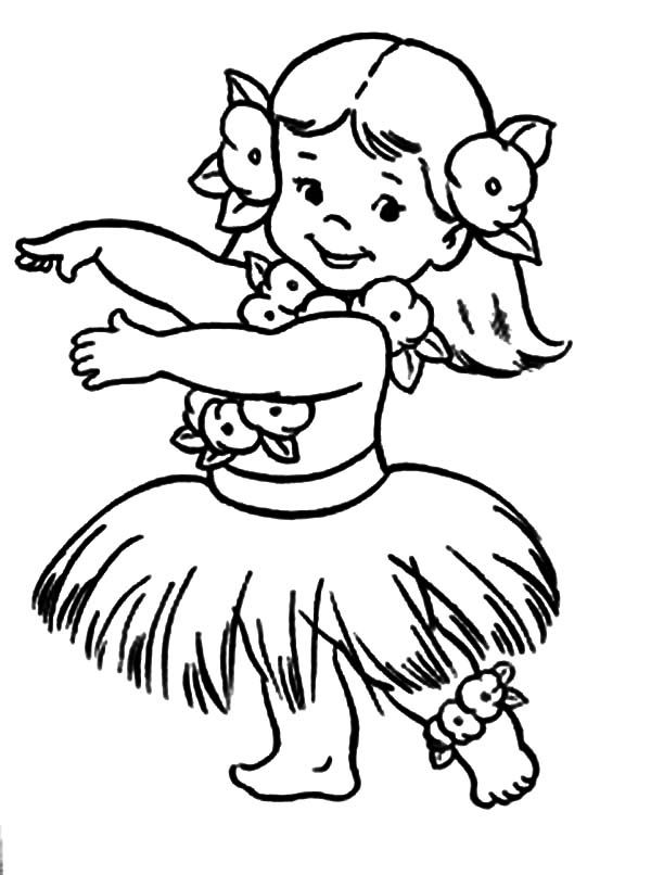Hula Girl Coloring Page