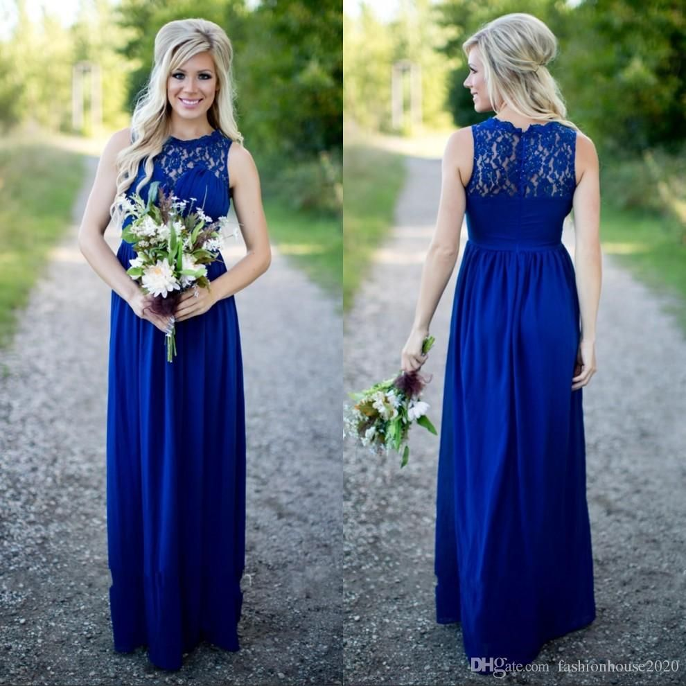 Sexy long royal blue beach country style bridesmaid dresses sheer sexy long royal blue beach country style bridesmaid dresses sheer lace neck ruched sexy open back bridesmaids dress maid of the honor gowns ombrellifo Choice Image