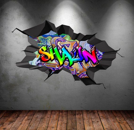 personalized name full color graffiti wall decals cracked 3d wall