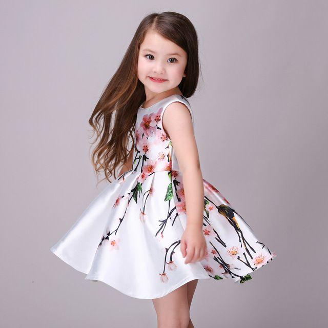 78ddd6d0da152 Girls Beautiful Dress Satin Printed Peach Blossom Stylish Summer ...