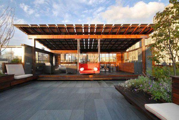 Pergola Markise Fassade Überdachte Terrasse Modern Holz Glas