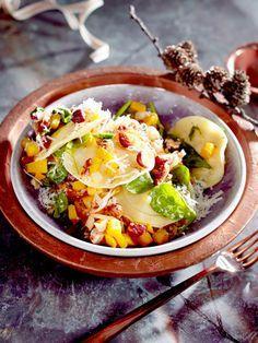 Veggie X-Mas: Kürbis-Ricotta-Ravioli mit Spinat