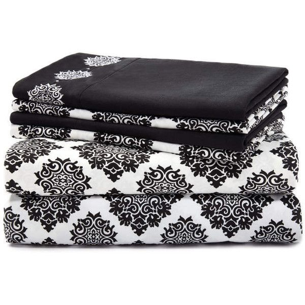 Living Colors Ava Jet Black 6-Piece Sheet Sets ❤ liked on Polyvore featuring home, bed & bath, bedding, bed sheets, black bedding, 6 piece sheet set and black sheet set