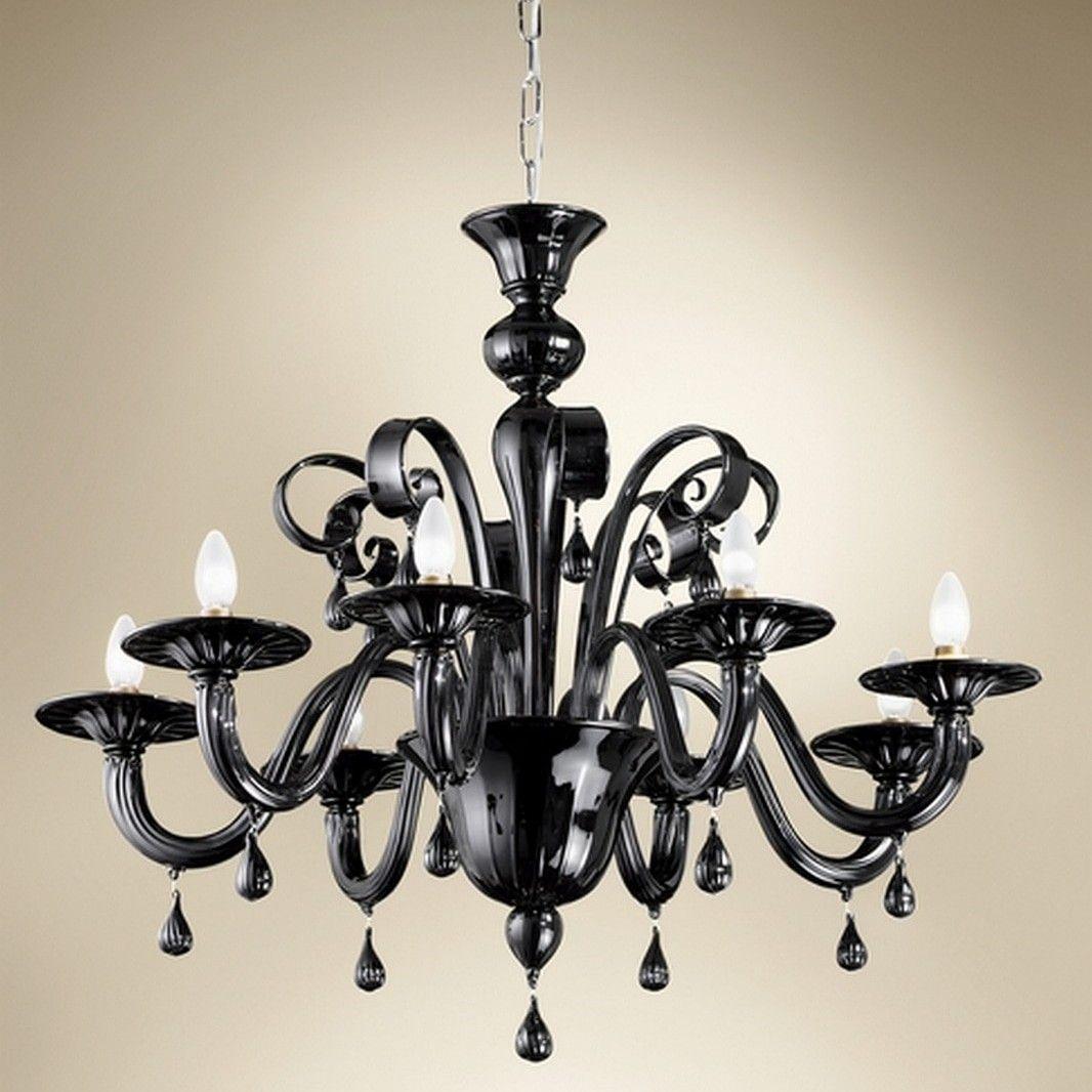 Lampadari Moderni Eleganti.Lampadario A 8 Luci In Vetro Di Murano Nero E Particolari In
