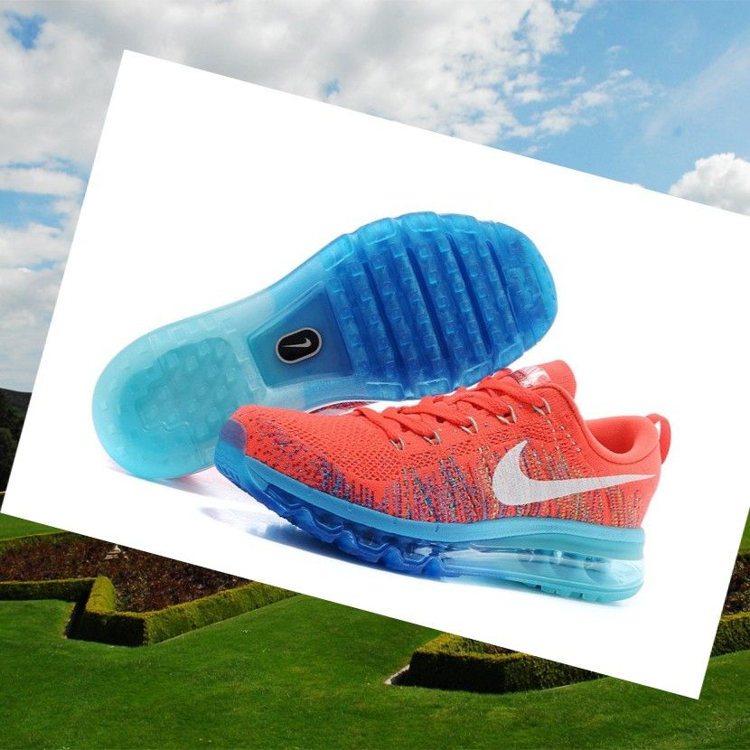 Sneakers Nike Air Max 2014 Flyknit Orange Red Blue Ladies