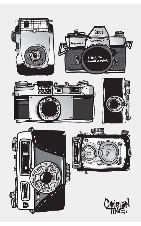 Vintage camera drawing vintage camera collection set for Camere dwg