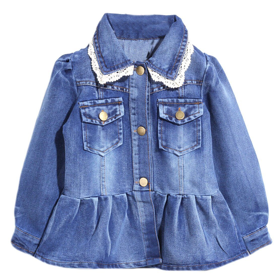 4aba1d540 Pipi kids Boy Girl Wash Patched Button Denim Coat 6y blue. Pay ...