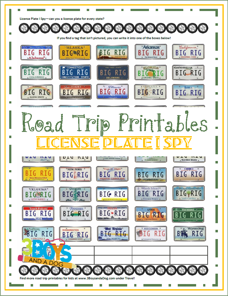 Road Trip Printables For Kids License Plate I Spy Kid border=