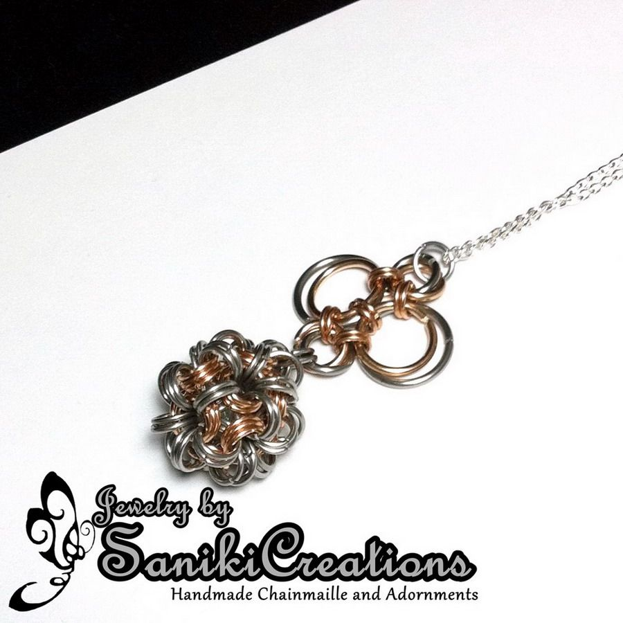 The Fidget, Handmade Dodecahedron Chainmaille Ball Pendant, by Saniki Creations