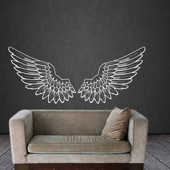 Angel wings wall decal vinyl sticker decals bird god big for Angel wall mural