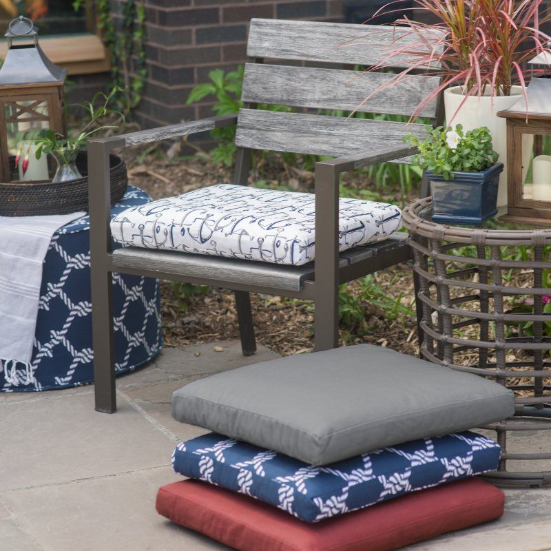 Coral Coast Nautical 21 X 19 In Outdoor Seat Pad Timeless Red