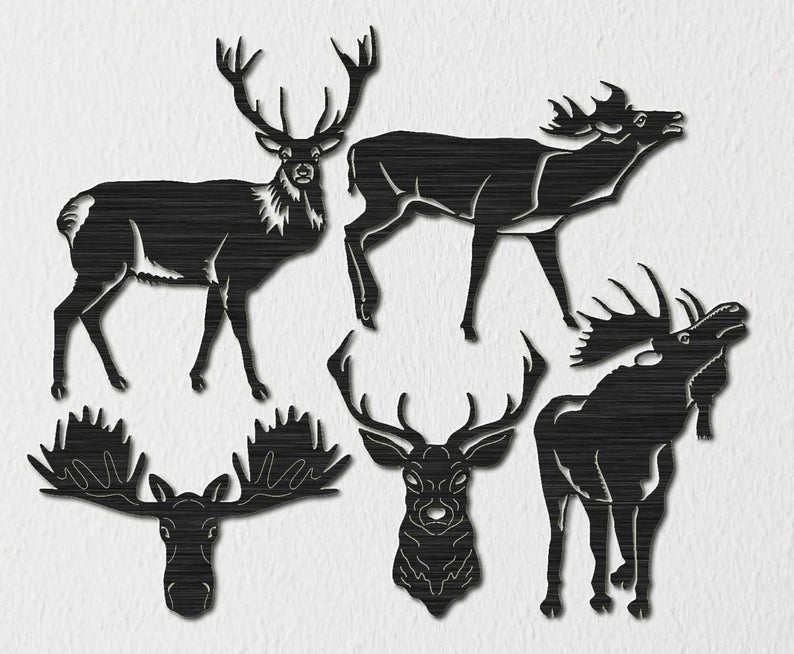 set of 4 Reindeer Silhouette Serving Bowl