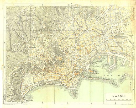 1950s City Map Naples, Italy, Street Plan, Old Map Napoli | City ...