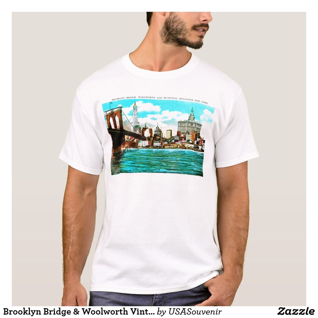 476f9cb4e62e4e Brooklyn Bridge   Woolworth Vintage New York City T-Shirt  Brooklyn  NewYork   Tshirts