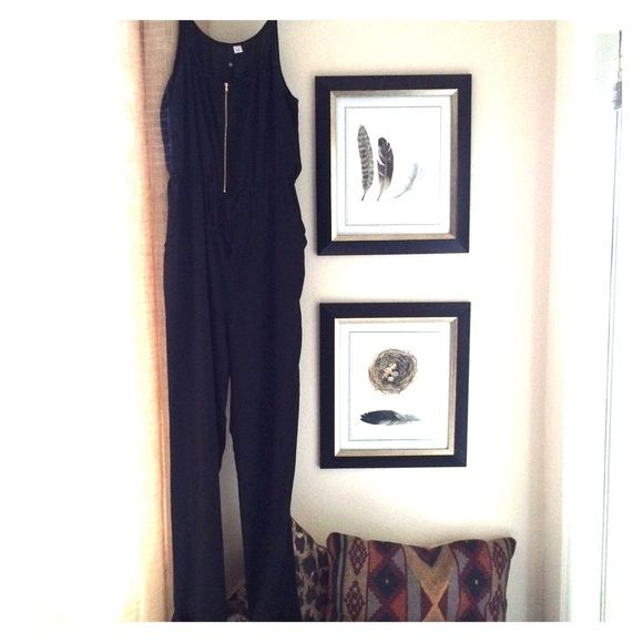 Black jumpsuit lightweight zipper elastic waist Black jumpsuit lightweight zipper elastic waist. Worn once in ITALY!  comfy H&M Dresses
