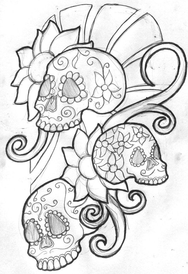 Mexican sugar skull tattoo for girls on both feet with the ...