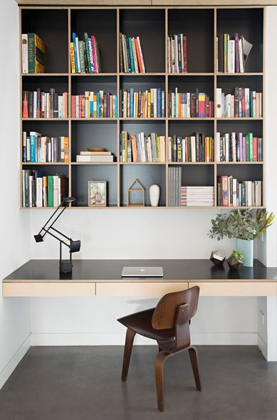 Office nook with built in desk and shelves #polebarns