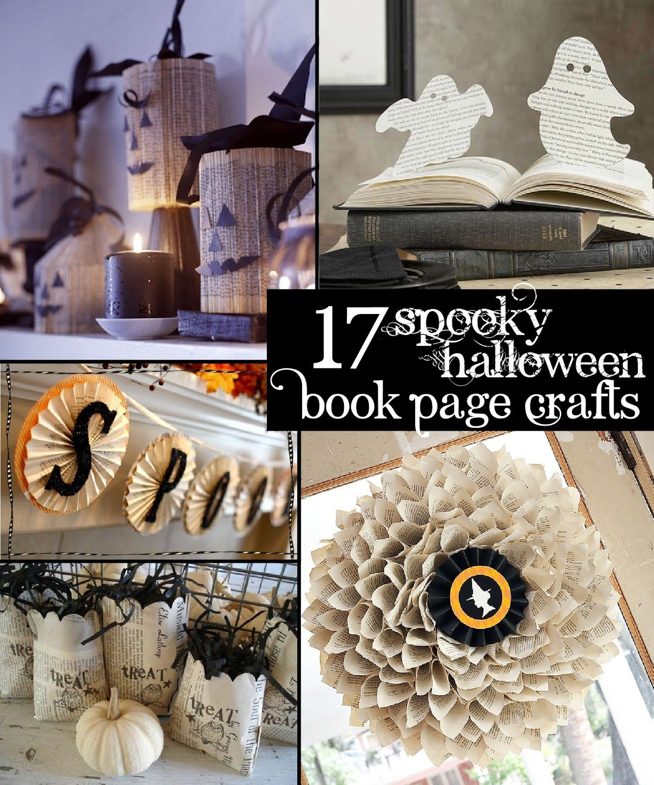 The Scrap Shoppe 17 Spooky Halloween Book Page Crafts Holiday - Pinterest Halloween Decorations