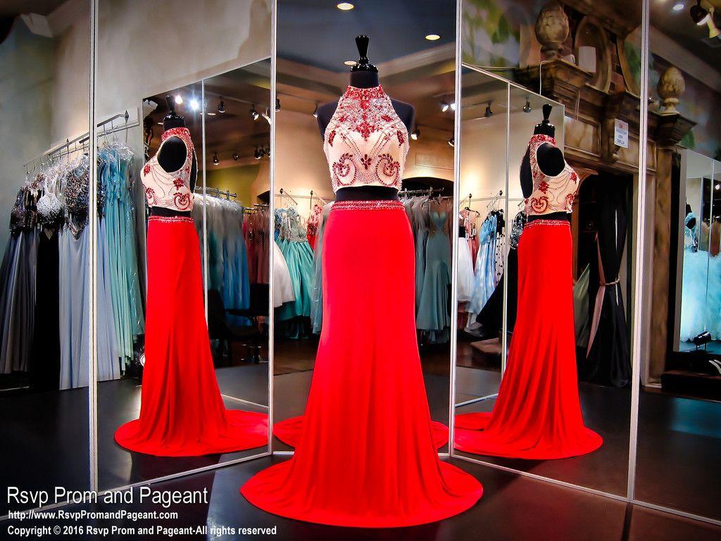 Rednude two piece formfitting jersey prom dresshigh beaded crop